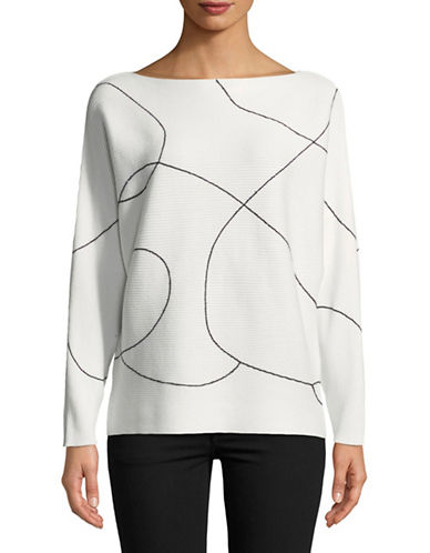 Vince Camuto Ink Swirl Dolman-Sleeve Sweater-WHITE-X-Large
