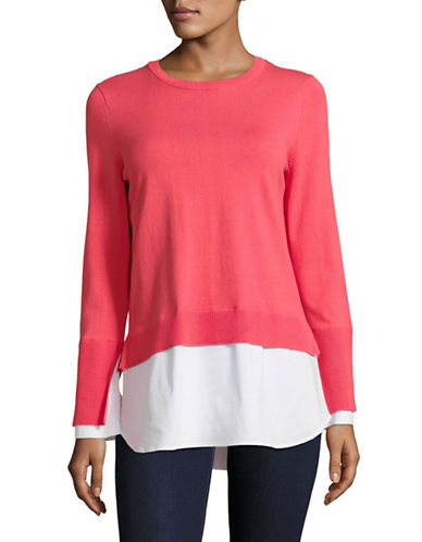 Vince Camuto Mix Media Long-Sleeve Sweater-CORAL-Small
