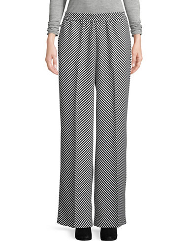 Vince Camuto Striped Wide-Leg Pants-BLACK-Small