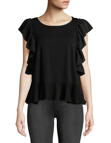 Vince Camuto Ruffled Mix Media Top-BLACK-X-Small