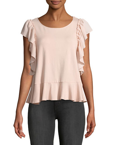 Vince Camuto Ruffled Mix Media Top-PINK-Medium