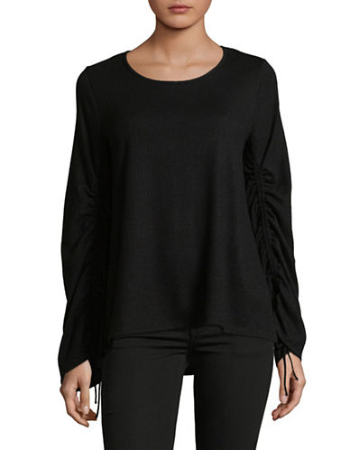 Vince Camuto Ruched Long-Sleeve Top-BLACK-X-Small