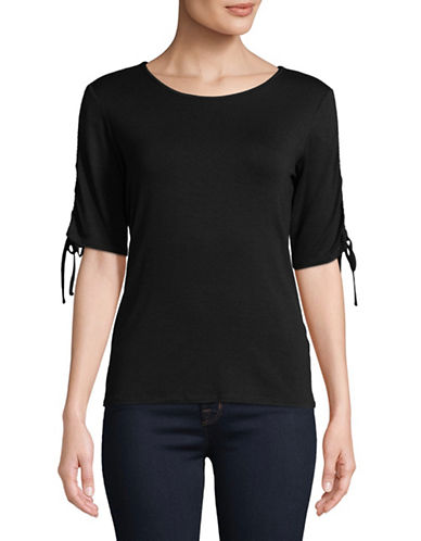 Vince Camuto Ruched-Sleeve Top-BLACK-X-Large