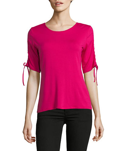 Vince Camuto Ruched-Sleeve Top-FUCHSIA-Medium