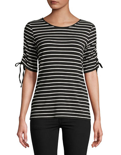Vince Camuto Raw String Striped Top-BLACK-X-Small