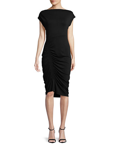 Vince Camuto Ruched Boat Neck Dress-BLACK-X-Small