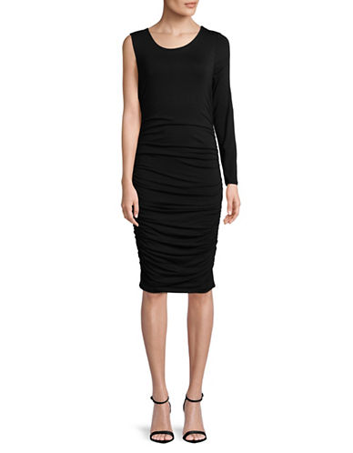 Vince Camuto Asymmetrical One-Sleeve Side Ruched Dress-BLACK-X-Small