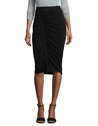 Vince Camuto Ruched Pull-On Skirt-BLACK-X-Small