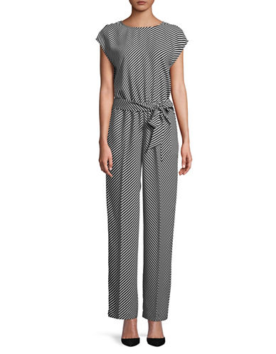 Vince Camuto Belted Stripe Jumpsuit-BLACK/WHITE-8