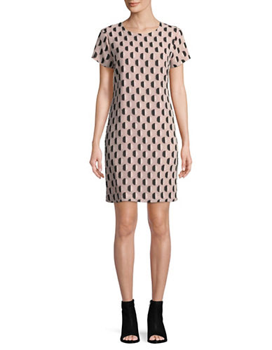 Vince Camuto Jaquard Graphic Dot Dress-PINK-8