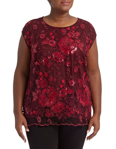 Vince Camuto Plus Sequin Lace Blouse-RED-1X