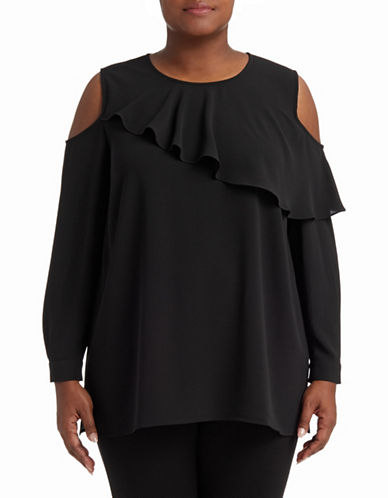Vince Camuto Plus Long Sleeve Cold Shoulder Blouse-BLACK-2X