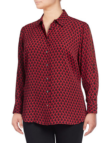 Vince Camuto Plus Split Sleeve Statement Geo Blouse-RED-2X