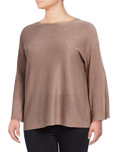 Vince Camuto Plus Ribbed Bell Sleeve Lurex Sweater-PINK-2X