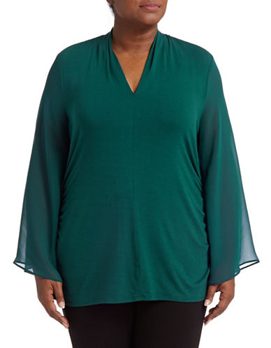 Vince Camuto Plus Chiffon Ruched Bell Sleeve Top-PEACOCK-3X