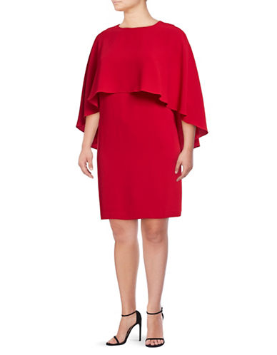 Vince Camuto Plus Cape Overlay Matte Crepe Dress-RED-1X