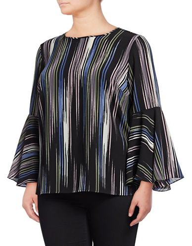 Vince Camuto Plus Bell Sleeve Peak Blouse-BLACK-1X