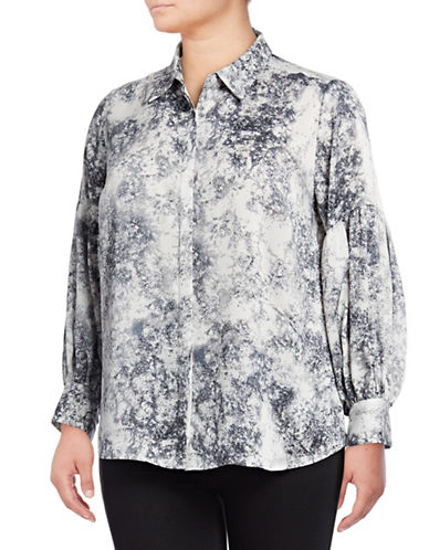 Vince Camuto Plus Speckled Long-Sleeve Button-Down Shirt-GREY-3X