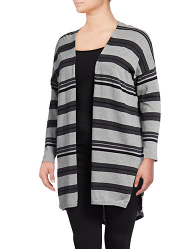Vince Camuto Plus Colourblock Stripes Cardigan-GREY-2X
