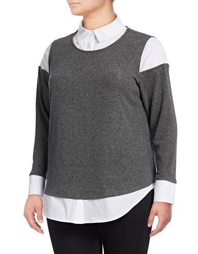 Vince Camuto Plus Mix Media Brushed Jersey Top-GREY-2X