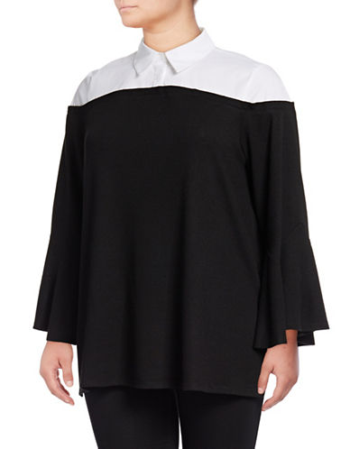 Vince Camuto Plus Mix Media Flare-Sleeve Jersey Top-BLACK-2X