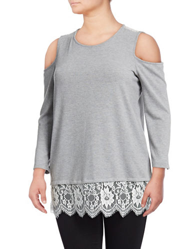Vince Camuto Plus Lace-Back Cold-Shoulder Top-GREY-1X