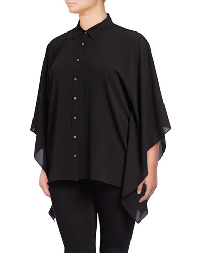 Vince Camuto Plus Plus Collared Poncho Button-Down Shirt-BLACK-2X