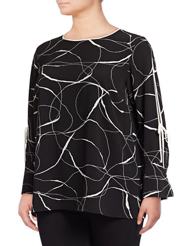 Vince Camuto Plus Plus Ink Swirl Split-Sleeve Blouse-BLACK-2X