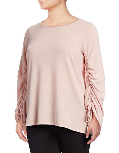Vince Camuto Plus Plus Ruched-Sleeve Top-PINK-3X