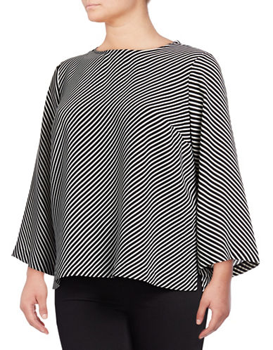 Vince Camuto Plus Plus Diagonal Stripe Bell-Sleeve Blouse-BLACK-1X
