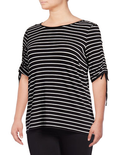 Vince Camuto Plus Plus Striped Ruched-Sleeve Top-BLACK-2X