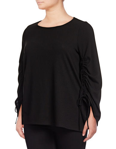 Vince Camuto Plus Plus Ruched-Sleeve Top-BLACK-1X