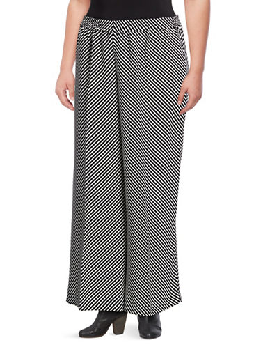 Vince Camuto Plus Plus Diagonal Stripe Wide-Leg Pants-BLACK-1X