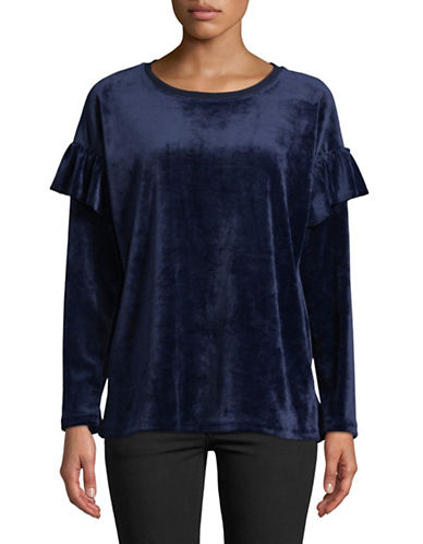 Two By Vince Camuto Ruffle Shoulder Long-Sleeve Top-BLUE-Large