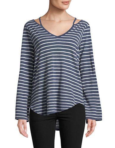 Two By Vince Camuto Split-Cuff Stripe Top-BLUE-Medium