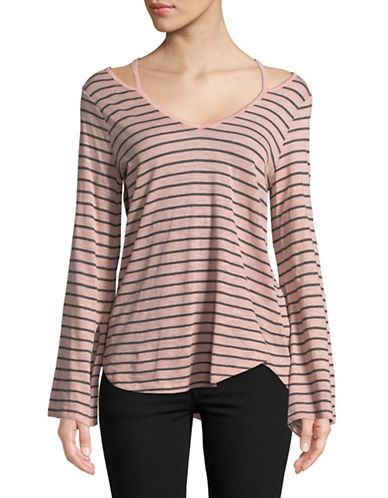Two By Vince Camuto Split-Cuff Stripe Top-BLUSH-Medium