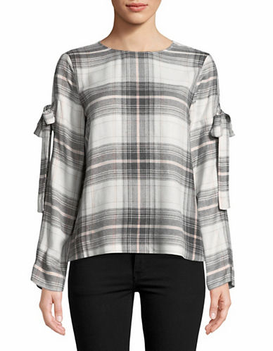 Two By Vince Camuto Tie Sleeve Plaid Top-GREY-Medium