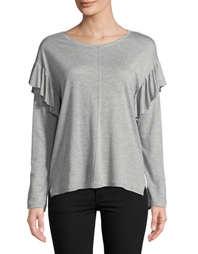 Two By Vince Camuto Ruffle Long Sleeve Top-GREY-Medium