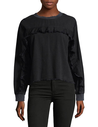 Two By Vince Camuto Ruffled Long-Sleeve Denim Sweatshirt-BLACK-Small