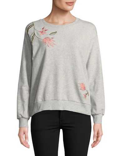 Two By Vince Camuto Embroidered Long-Sleeve Sweatshirt-GREY-X-Large