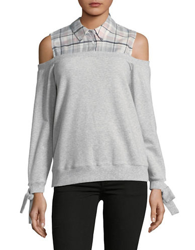 Two By Vince Camuto Tie Cuff Cold-Shoulder Sweatshirt-GREY-X-Small