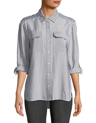 Two By Vince Camuto Striped Button-Down Shirt-BLUE-X-Large