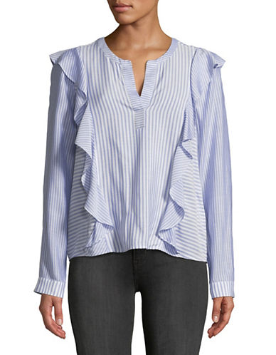 Two By Vince Camuto Mix Stripe Ruffle Top-BLUE-X-Small