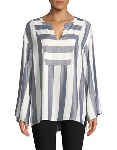 Two By Vince Camuto Striped Bell-Sleeve Top-BLUE-X-Small