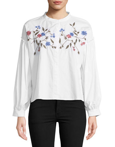 Two By Vince Camuto Embroidered Cotton Button-Down Shirt-WHITE-X-Small