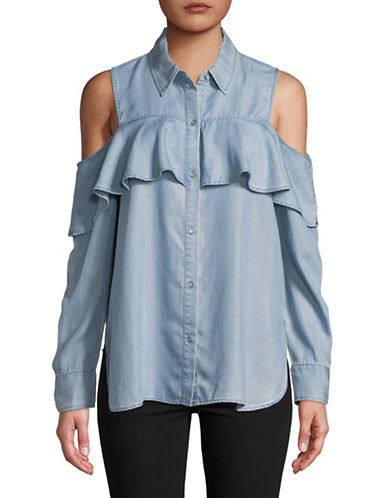 Two By Vince Camuto Cold-Shoulder Button-Down Shirt-BLUE-X-Large