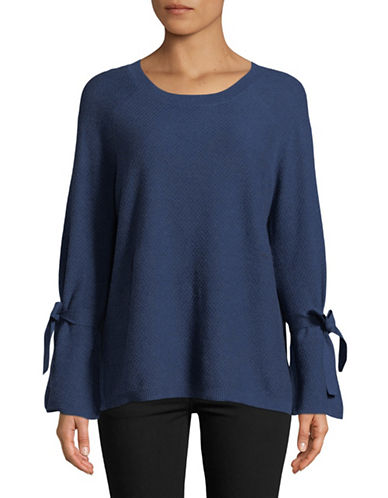 Two By Vince Camuto Textured Cotton Sweater-BLUE-X-Large