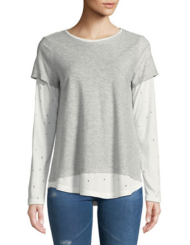 Two By Vince Camuto Distressed Long-Sleeve Top-GREY-X-Large