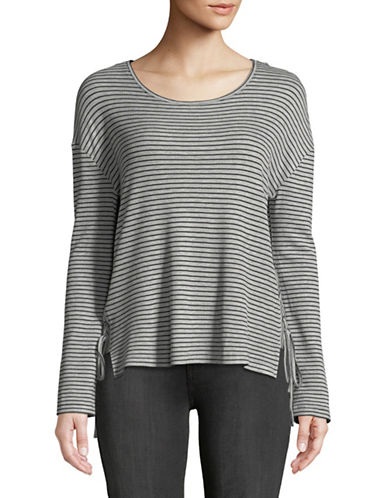 Two By Vince Camuto Striped Long-Sleeve Top-GREY-X-Small