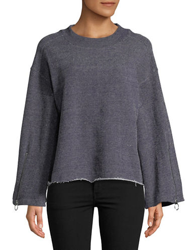 Two By Vince Camuto Zip Bell-Sleeve Cotton Sweater-BLUE-Large